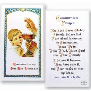 Communion Prayer Boy Prayer Card